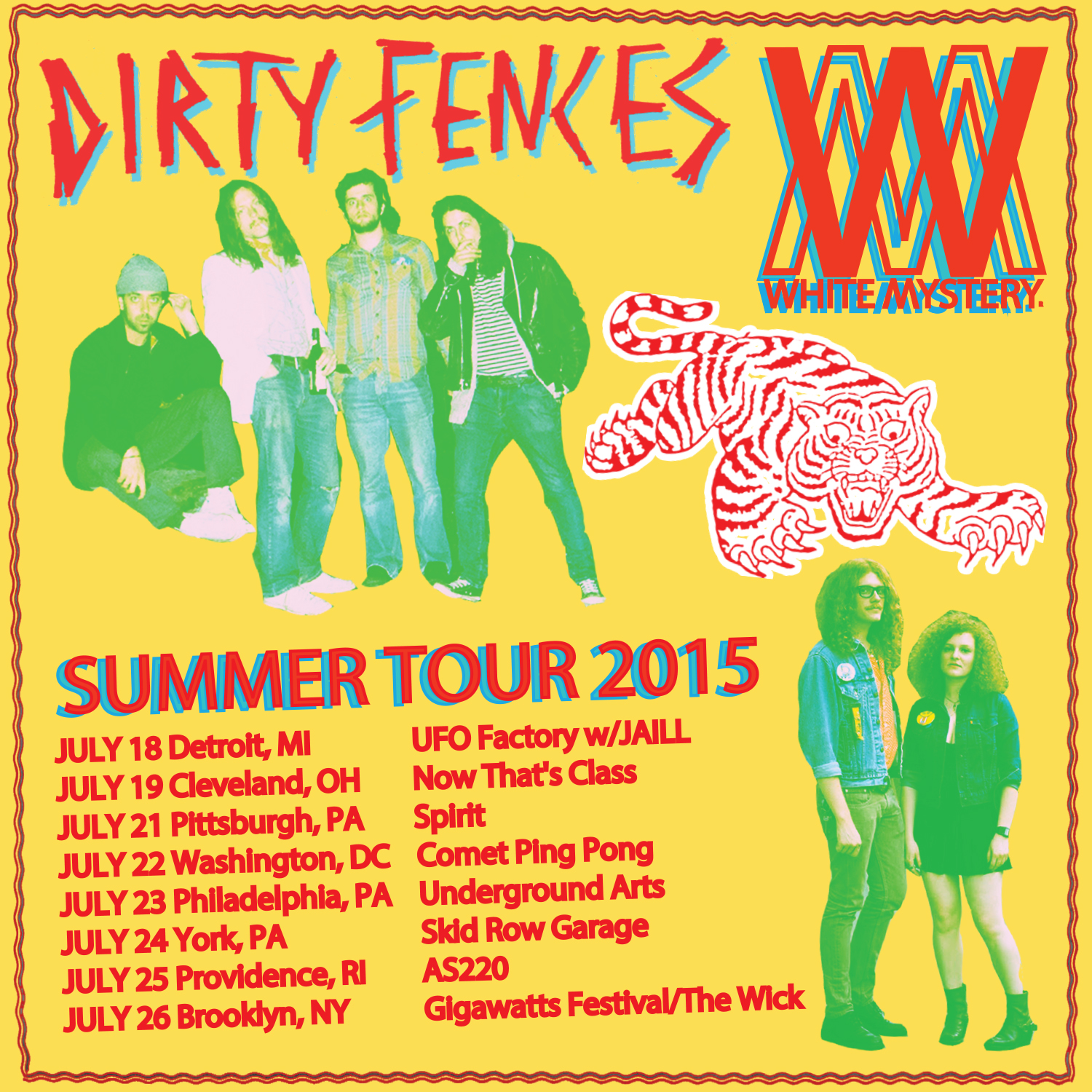 white mystery dirty fences 2015 tour
