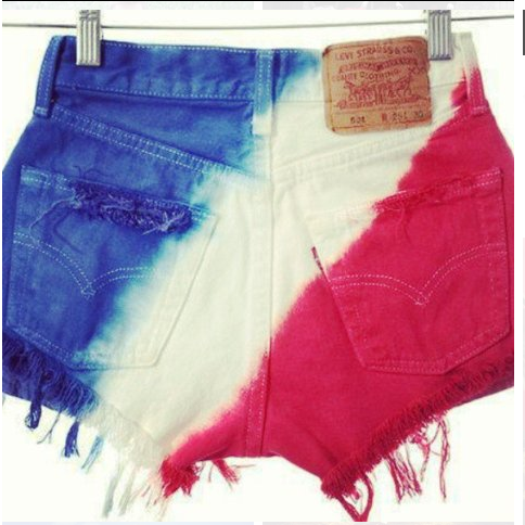 red white and blue jean cut offs