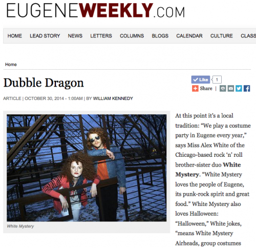 """Punky classic tunes,"""" Eugene Weekly :: White Mystery"""