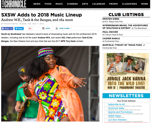 """SXSW Adds White Mystery to 2018 Music Line-Up,"""" Austin"""